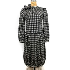 Nina Ricci Wool Checked Dress Vintage 80's Size 4